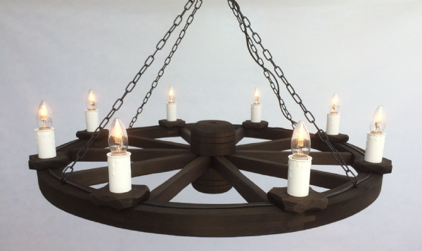 Rustic 8-Light Wooden Cartwheel Light | Tradwoodlights